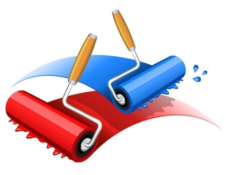 Ilustración de rodillos de pintura roja y azul