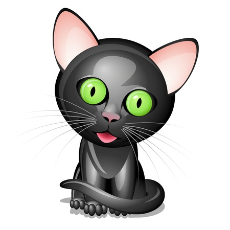 Little black cat isolated on white background Vector