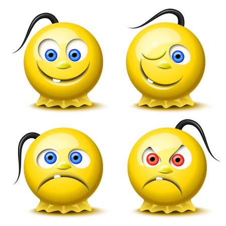 Set of four original glossy smileys Vector