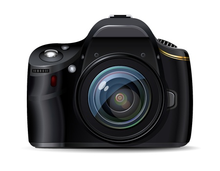 dslr camera: C�mara r�flex digital moderna, dise�o original Vectores