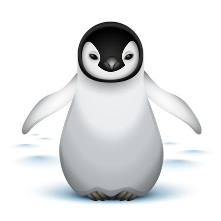 frieren: Little Baby Kaiserpinguin im Schnee Illustration