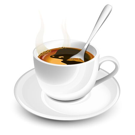 expresso: Cup of hot coffee with foam and spoon Illustration