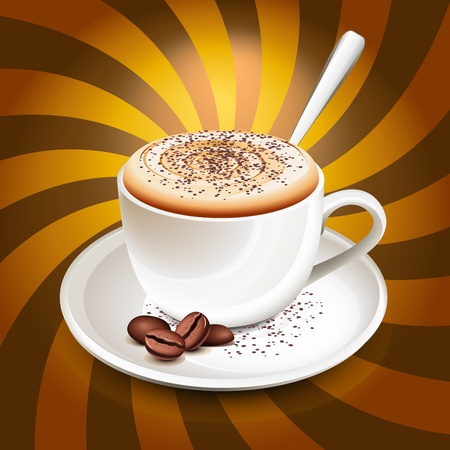 coffee beans: Taza de capuchino sobre rayos Vectores