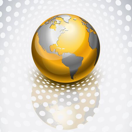 Golden globe reflecting over dots Stock Vector - 9412260