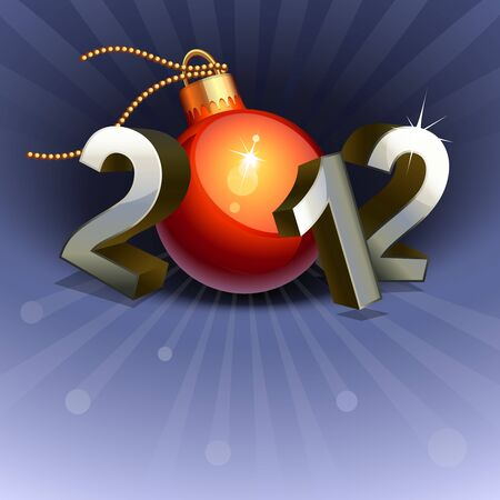 New year 2012 made of numbers and bauble Vector