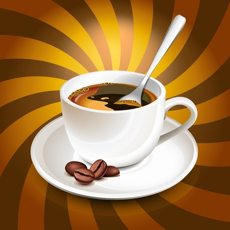Cup of coffee over rays Illustration