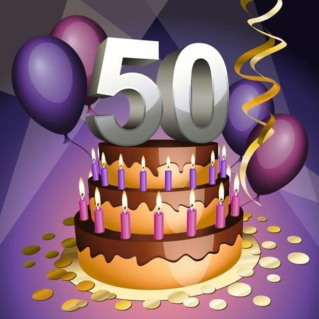 felicitaciones de cumplea�os: Quincuag�simo aniversario pastel con n�meros, velas y globos Vectores