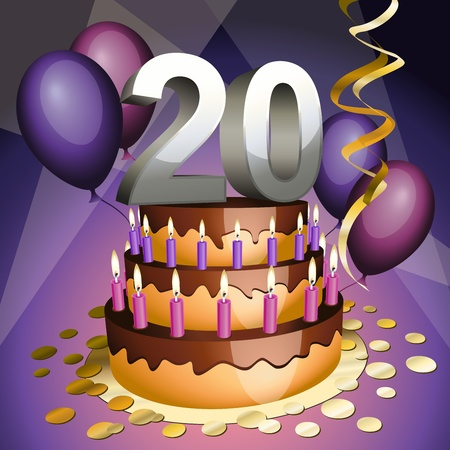 20: Twentieth anniversary cake with numbers, candles and balloons Illustration
