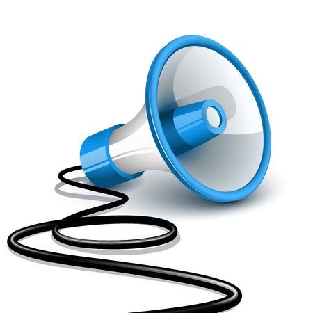 hombre megafono: Meg�fono sobre el terreno con cable negro