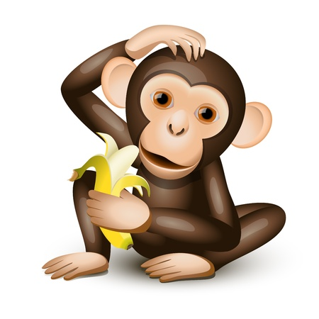 Little monkey holding a banana isolated on white Çizim
