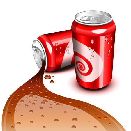 drink can: Opened and closed red can with Cola flowing