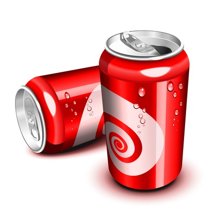 drinking soda: Opened and closed red cola can Illustration