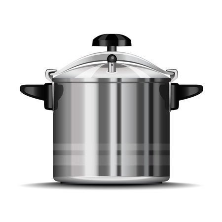 stainless steel kitchen: Pressure cooker for cooking Illustration
