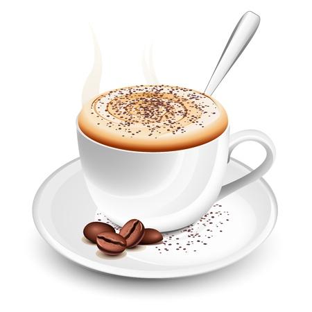 Taza de café caliente con espuma y cuchara