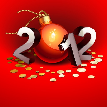 New year 2012 with numbers and bauble
