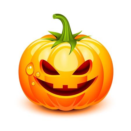 zucche halloween: Halloween faccia di zucca in uno stile lucido Vettoriali