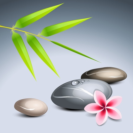 massage stones: Zen theme 2 with bamboo and colored pebbles