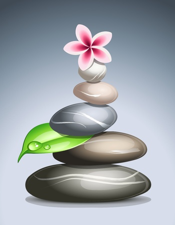 massage stones: Colored pebbles in a pile Illustration