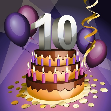 Tenth anniversary cake with numbers, candles and balloons Vector
