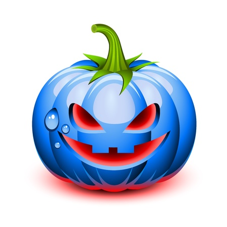 Halloween blue pumpkin face in a glossy style Stock Vector - 10651941