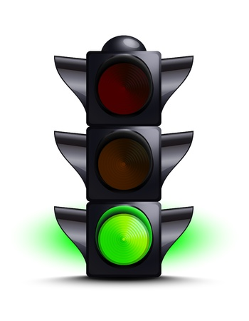 light green: Traffic light on green Illustration