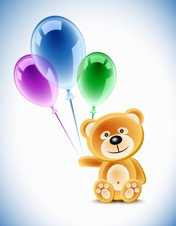 Teddybear holding transparent balloons Illustration
