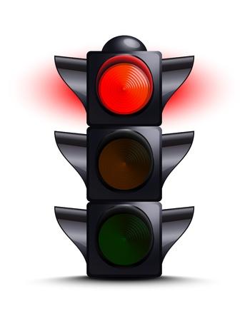 traffic control: Sem�foro en rojo Vectores