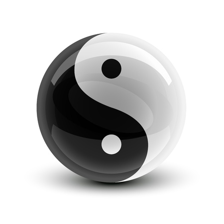 yin yang symbol: Yin and Yang symbol on a glossy ball