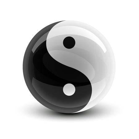 Yin en Yang symbool op een glanzende bal