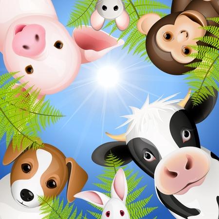 sun cartoon: Curious animals all around