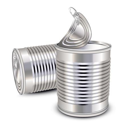 food container: Abrir y cerrar las latas de comida de lata Vectores