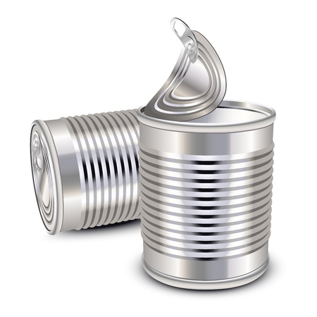 canned food: Opened and closed food tin cans Illustration
