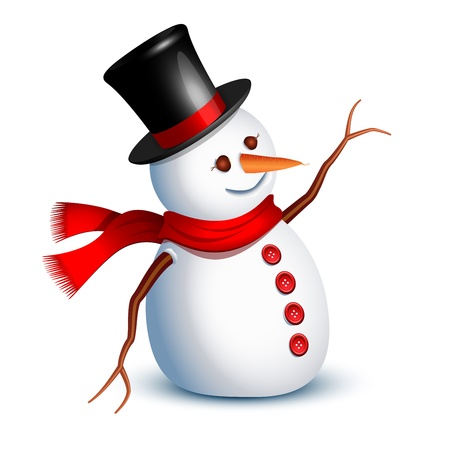 Happy Snowman begroeting met een arm Stock Illustratie