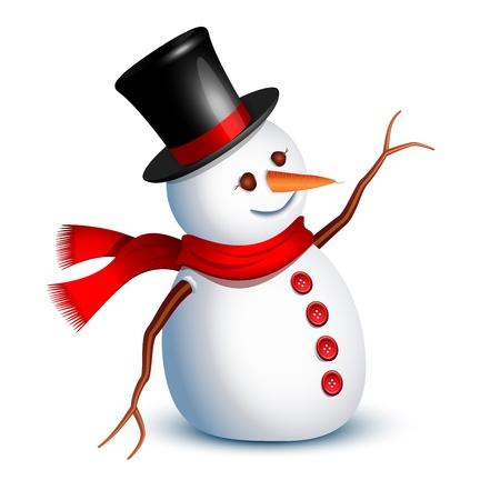 bonhomme de neige: Voeux de bonhomme de neige heureux avec un bras
