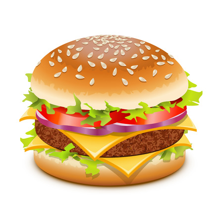 Cheeseburger, hamburger with cheese over white Ilustração