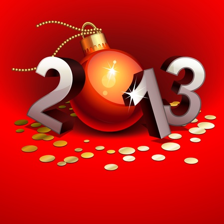 New year 2013 with numbers and bauble Vector