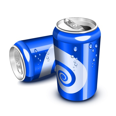 cans: Blue soda cans,  opened and closed