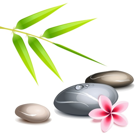 Zen theme with bamboo and colored pebbles over white Stock Vector - 12374877
