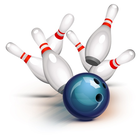Bowling ball crashing into the pins Ilustrace