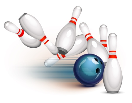 Bowling ball crashing into the pins Stock fotó - 12966723