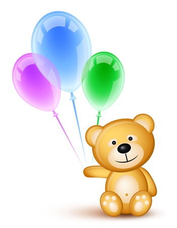 colored balloons: Teddybear holding colored  balloons over white
