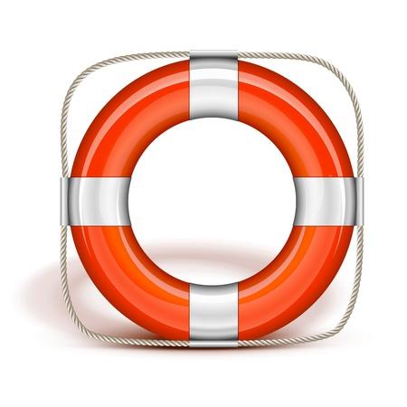 life belt: Orange Life Belt in upright Illustration
