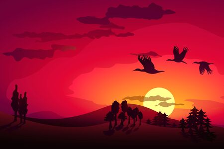 Sunset landscape and flying storks Stock Vector - 13220218