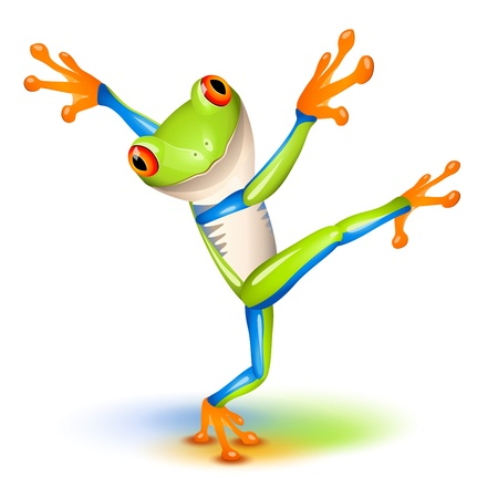 Dancing Tree Frog in equilibrium  Stock Vector - 13283267