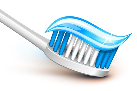 fluoride: Toothbrush with blue gel toothpaste