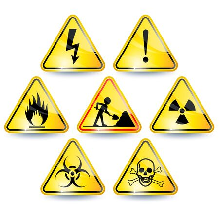 high voltage sign: Set of seven yellow warning signs