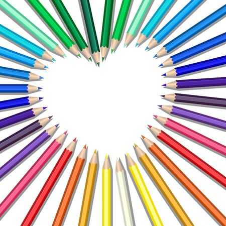 Colored pencils in a heart shape