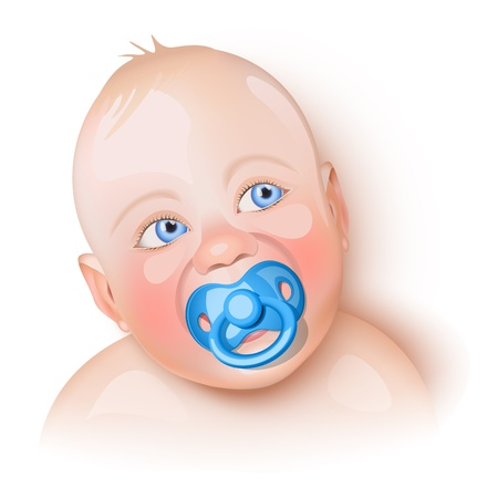 new born baby girl: Cute baby with blue pacifier in mouth