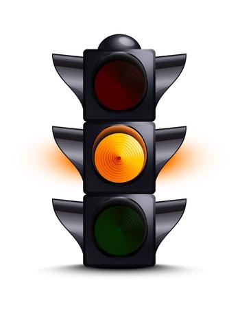 señal de transito: Semáforo en amarillo Vectores