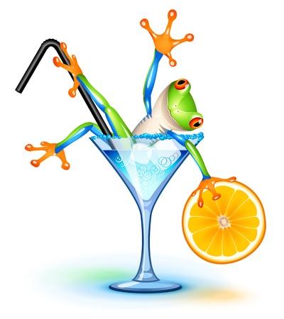 blue frog: Rana del �rbol en c�ctel Blue Lagoon